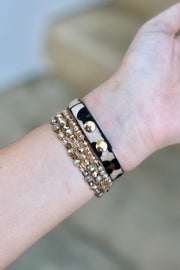 Leather & Beaded Apple Watch Band- Leopard
