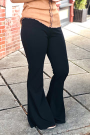 L&B Party Girl High Rise Flare Pants- Black