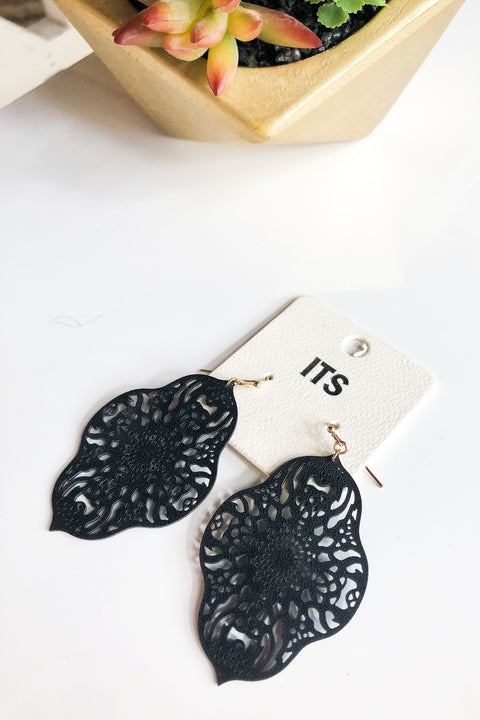 Moroccan Flower Earrings- Black