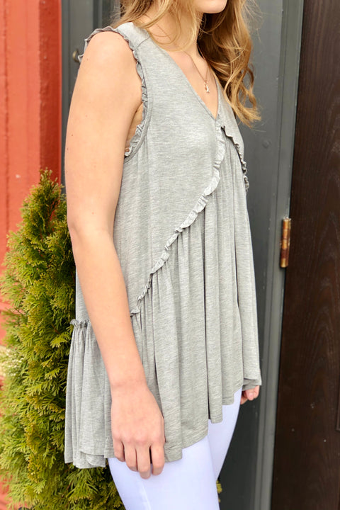Going Downtown Ruffled Tank- Grey