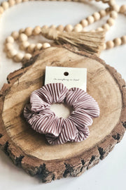 Pleated Hair Scrunchie- Taupe