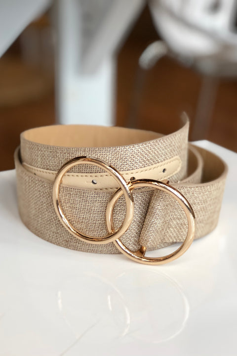 Linen Double Circle Belt- Beige