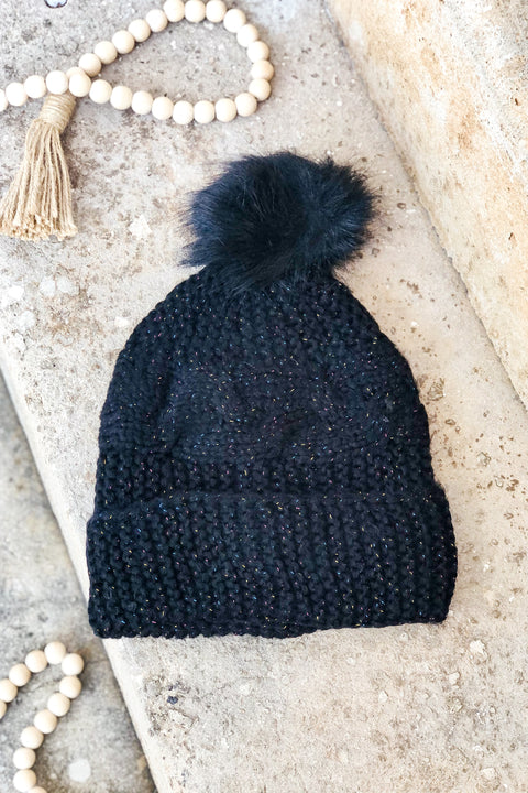 Fuzzy Feelings Cable Knit Beanie- Black