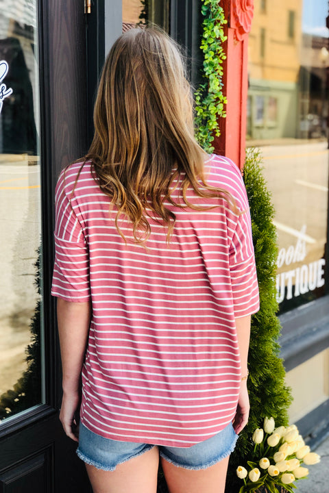 Vacation Vibes Striped Top- Mauve