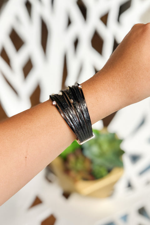Concert Cutie Leather Bracelet- Black