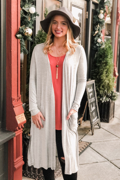 Winter Skies Knit Duster Cardigan- Heather Grey