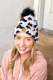 Bundle Up Knit Beanie- White Leopard
