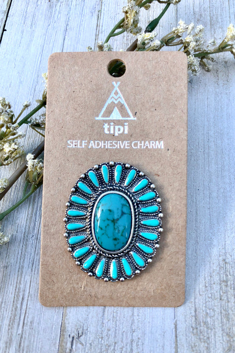 Mandala Phone Grip or Laptop Charm- Turquoise