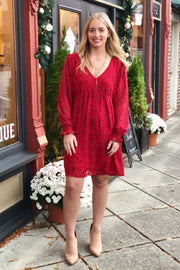 Beautiful Stranger Babydoll Dress- Red