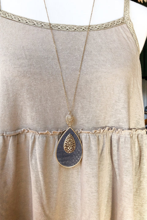 Boho Filigree Necklace- Grey