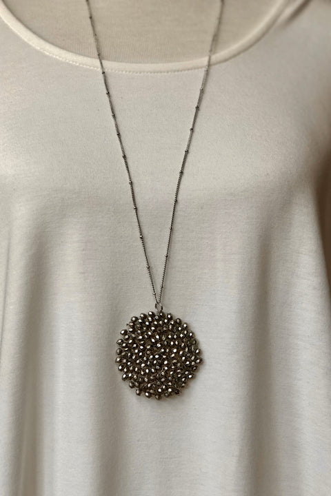 Starburst Crystal Disc Beaded Necklace- Silver