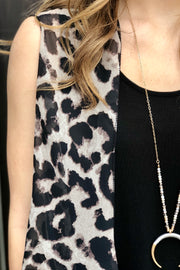 Lovely in Leopard Waterfall Vest- Grey