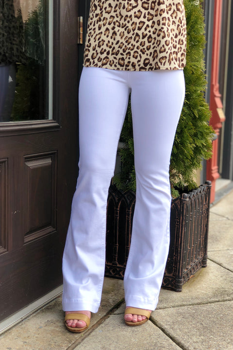 A Girl With Flair Mid Rise Flare White Jegging- (Petite)