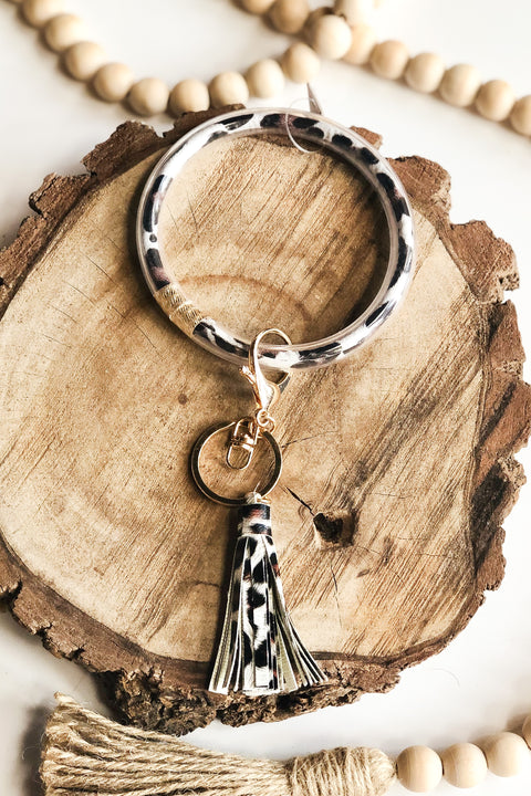 Safari Bangle Key Chain- White Leopard