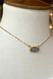Dixie Druzy Gold Necklace- Hematite Pendant