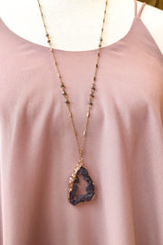 Canyon Druzy Stone Necklace- Black