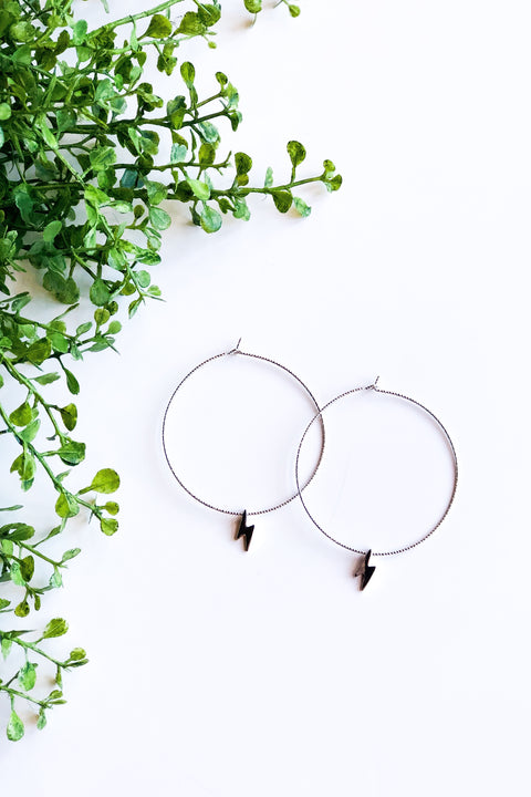 Thunderbolt Hoop Earrings - Silver
