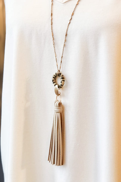 Hopes and Dreams Tassel Necklace- Natural Tassel