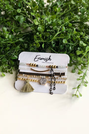 Erimish Bracelet Set of 5- Olive Tassel & Gold