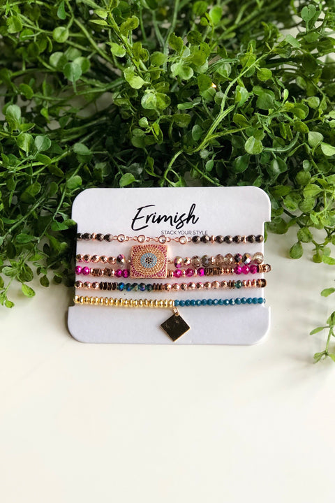 Erimish Bracelet Set of 5- Pink & Teal
