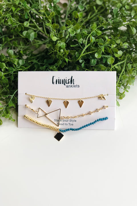 Erimish Anklet Set of 3- Gold & Teal