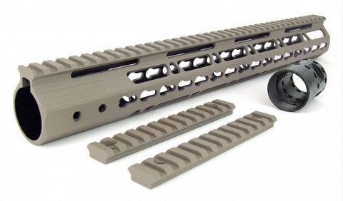 AR-15 ULTRA SLIM KEYMOD FREE FLOAT HAND GUARD - TAN 15""