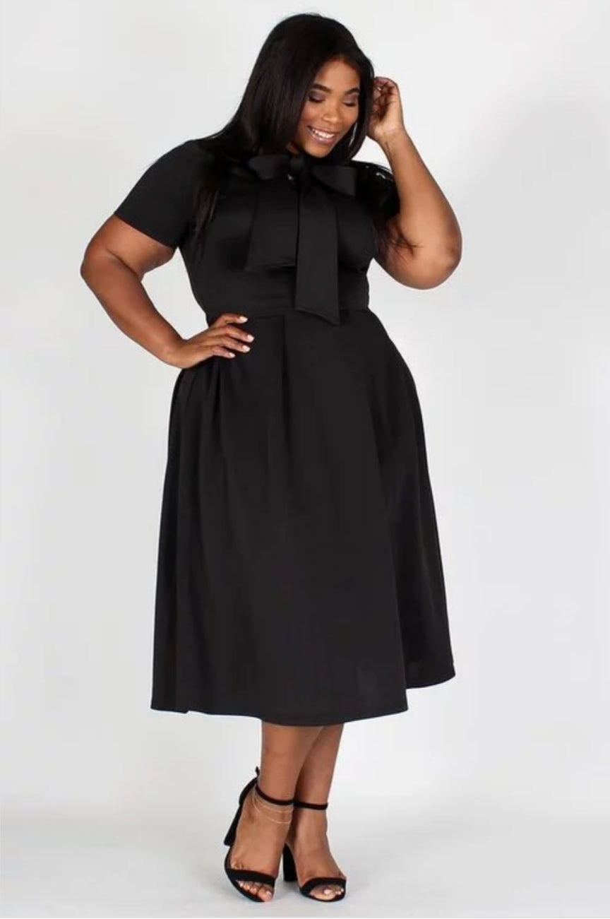 Plus Size bow collar dress - Southern Fried Couture