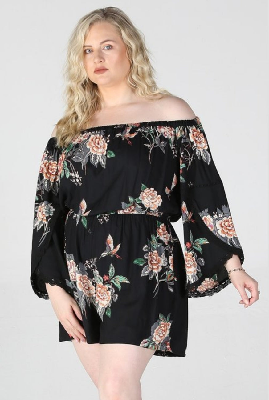 Floral Plus Size Romper - Southern Fried Couture