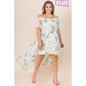 PLUS SIZE HIGH AND LOW OFF THE SHOULDER DRESS - Southern Fried Couture