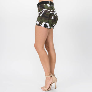 PLUS SIZE HIGH WAIST CAMO SHORTS WITH BELT: CITY CAMO - Southern Fried Couture