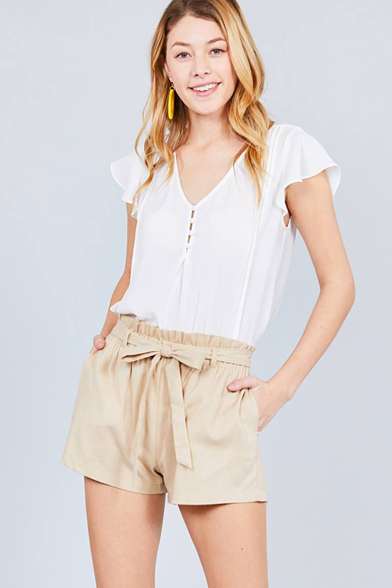 Paper Bag W/bow Tie Short Linen Pants