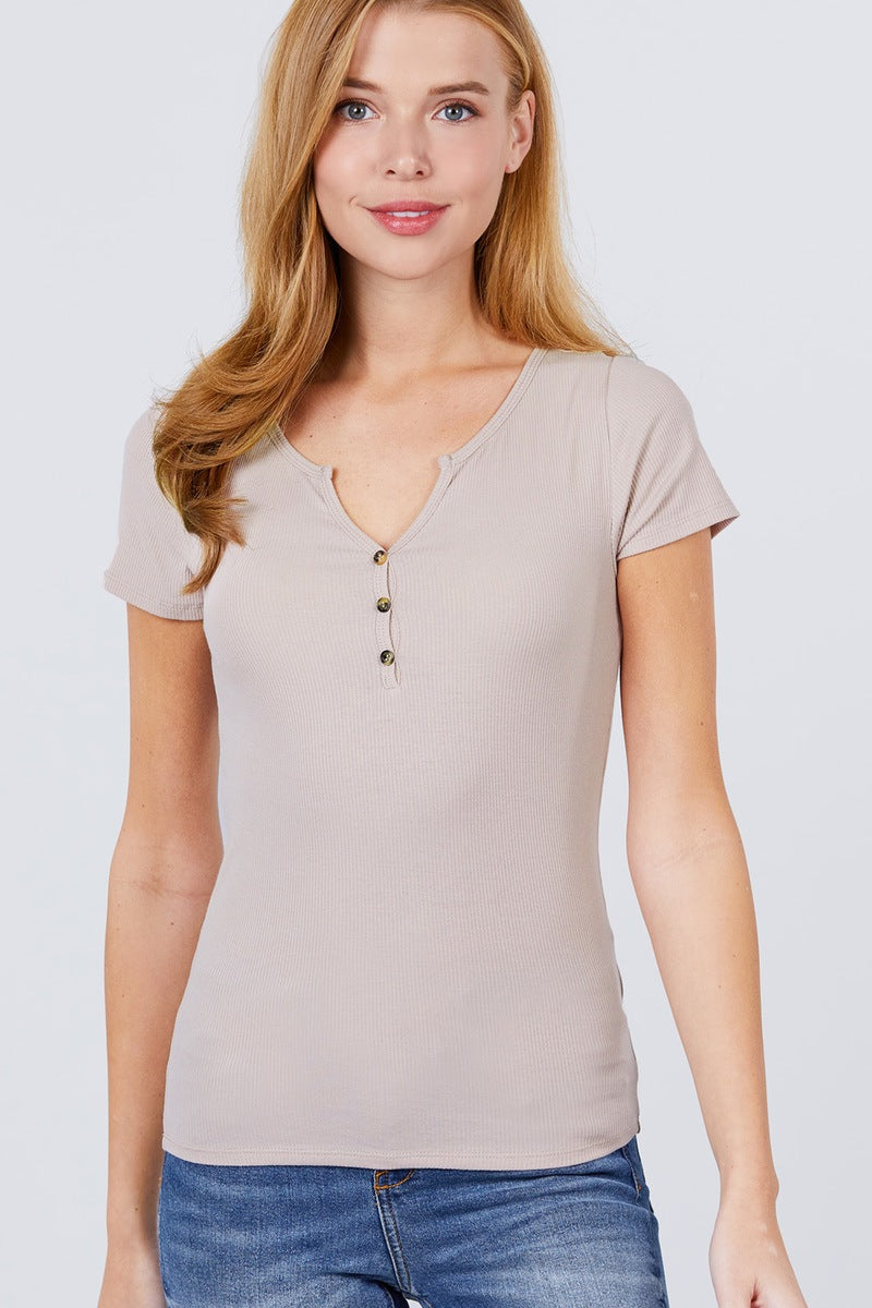 Short Sleeve W/button Detail Henley Neck Rib Knit Top