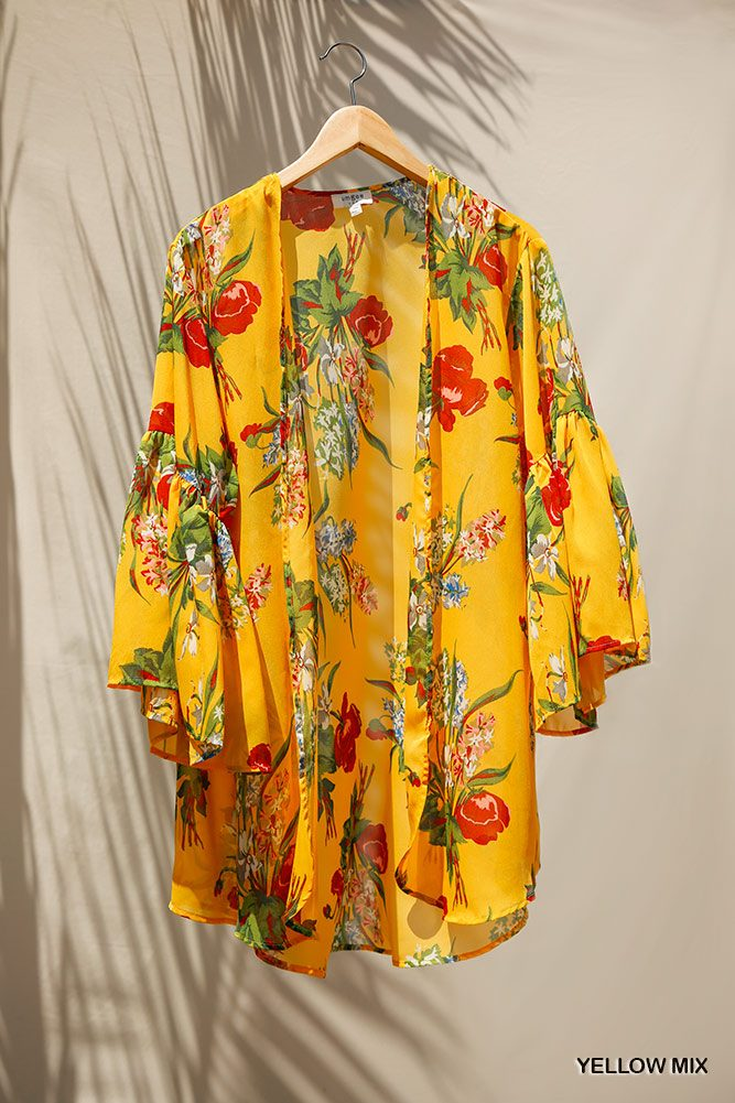 Floral Print Open Front Kimono With Flowy Sleeves