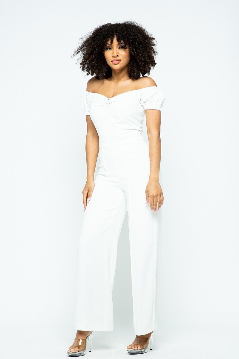 Puff Short Sleeve Jumpsuit With U Metal Details And Back Open Zippered