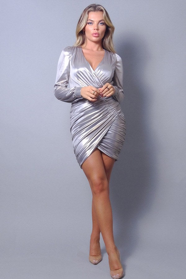 Metallic Long Sleeve V Neck Wrapped Asymmetric Hem Mini Dress
