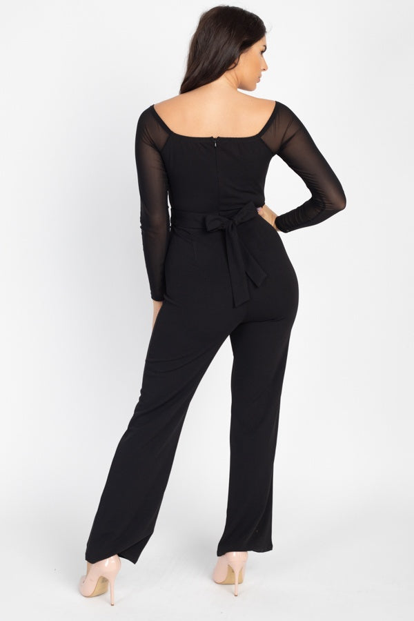 Self Tie Lace Embroidered Jumpsuit
