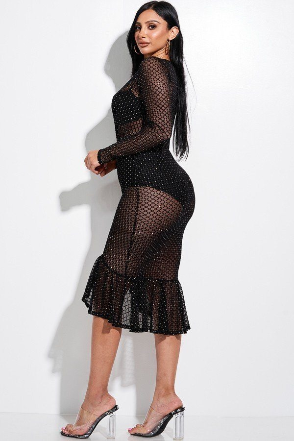 Embellished Burnout Mesh Long Sleeve Mermaid Midi Dress With Panty Lining