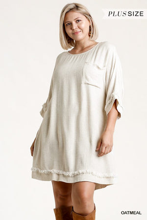 Linen Blend Round Neck Half Sleeve Dress With Chest Pocket And Frayed Edge Detail