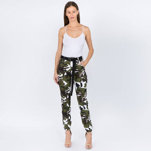 HIGH WAIST CAMO JOGGERS WITH BELT - Southern Fried Couture