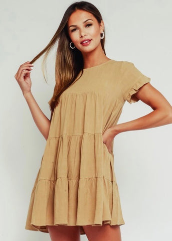 Khaki Baby Doll Dress