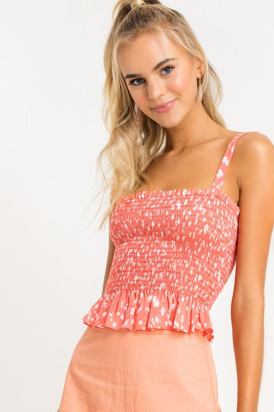 Coral Smocked Top