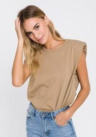 Padded Shoulder Tee - Taupe