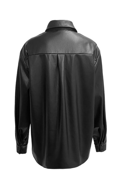 Faux Leather Black Shacket