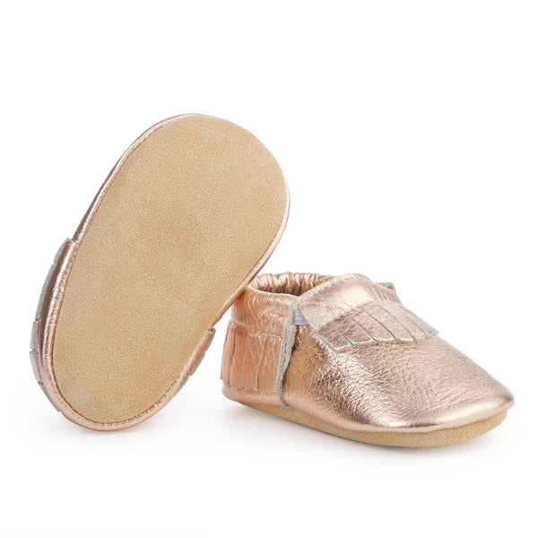 Rose Gold Baby Moccasins