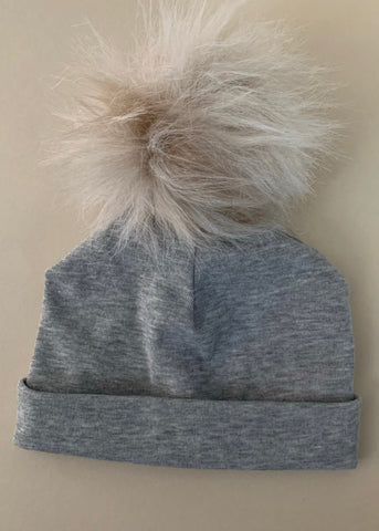 Heather Pompom Hat