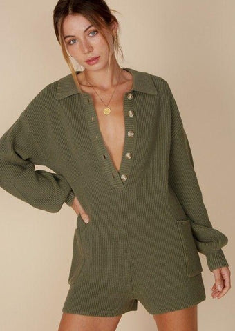 Easy Street Sweater Romper - Olive