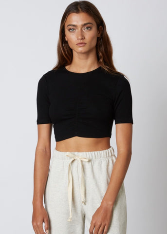 Ruched Crop Tee - Black
