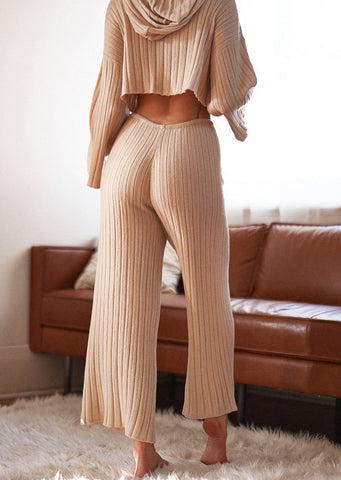 Baha Ribbed Wide Leg Pant - Sand