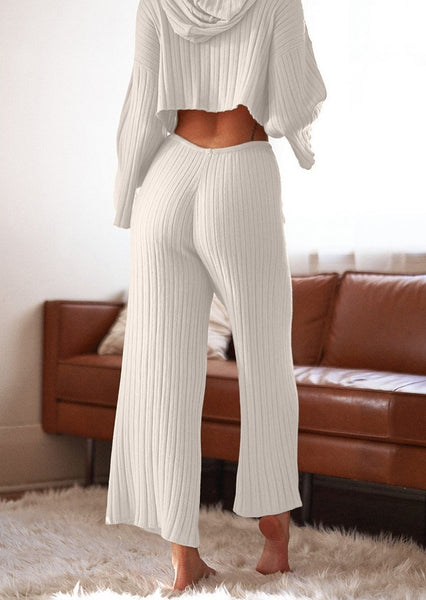 Baha Ribbed Wide Leg Pant - White