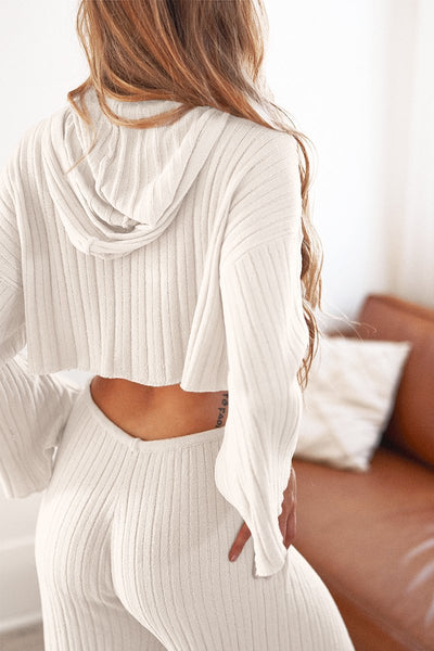 Baha Ribbed Hood Knit Crop - White (Pre-Order)